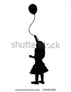 vector of a little girl holding a balloon - stock vector Little Tattoo For Girls, Little Girl Drawing, Little Girls, Silhouette Tattoos, Girl Silhouette, Mother Daughter Tattoos, Tattoos For Daughters, Ballon Drawing, Girl Holding Balloons