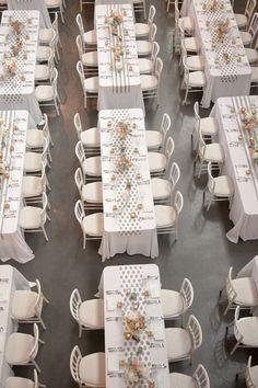 banquet tables, photo by SheWanders http://ruffledblog.com/modern-new-childrens-museum-wedding #weddingreception #weddingideas