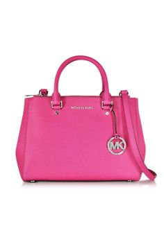 Michael Kors Sutton Raspberry Saffiano Leather Medium Satchel Bag