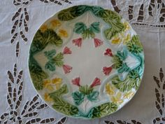 Barbotine French yellow and pink floral plate