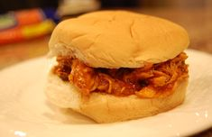 BBQ chicken sandwiches in slow cooker.  Another recipe to use skinless, boneless chicken breasts when they're on sale.