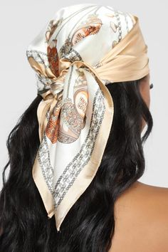 silk scarf hair wrap Hairs A Mess Head Scarf - Beige Hair Wrap Scarf, Hair Scarf Styles, Curly Hair Styles, Natural Hair Styles, Silk Hair Scarf, Silk Scarves, Hair Turban, Headband Styles, Beauty Crush