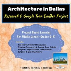 Create your own tour of the architectural landmarks in Dallas! Students learn more about famous structures and landmarks in Dallas, Texas and the individuals who created them as they research and then create a tour using Google Tour Builder to showcase their