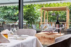 Blick auf die sonnige Feldhof Terrasse Felder, Restaurant, Patio, Table Decorations, Outdoor Decor, Furniture, Home Decor, Double Room, Rooftop Terrace