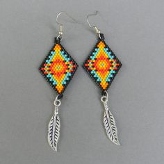Colorful seed bead earrings beaded jewelry by Anabel27shop,