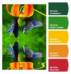 Butterflies & Tiger Lillies - Paint colors from Chip It! by Sherwin-Williams