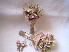 Wedding country bouquet set shabby chic pastel wedding ,wheat bouquets ,rustic wedding ,dried flowers bouquets and buttonholes farm wedding