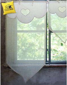 Tenda finestra con mantovana Blanc Mariclo in colore Bianco e Lino 60x120 cm