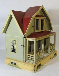 Antique 19thc F.a.o. Shwarz Victorian German Dollhouse & Doll Furniture *nr