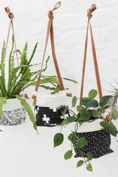 Hanging Soft Pots with Genuine Leather Strap - Zana Products