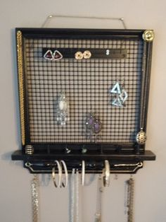 Hanging Jewelry Box black on black gate Jewelry Holder Wall, Wall Mount Jewelry Organizer, Jewelry Wall, Hanging Jewelry Organizer, Wall Organization, Jewelry Organization, Bridal Shower Gifts, Bridal Gifts, Creative Crafts
