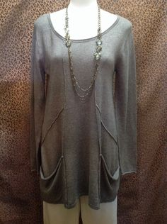 August Silk - Taupe colored sweater with front seams and pockets - $60