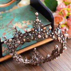 Baroque Bridal Jewelry Wedding Crystal Pearl Queen Crown Tiaras Headband Black #TiaracrownhairaccessoriesheadbandBandlimei
