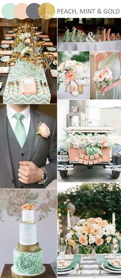 peach, mint green and green wedding ideas with gliiter gold accents. This is EXACTLY what I want!!!