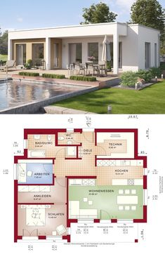 Bungalow house design with flat roof architecture & 3 room floor plan, 90 sqm small … - All For Garden Modern House Floor Plans, Best House Plans, Small House Plans, Bungalow Haus Design, Small Bungalow, Bungalows, Flat Roof House Designs, Bungalow Bedroom, Olive Garden