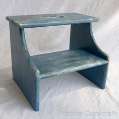 Wooden Two-step Step Stool - Rustic Blue