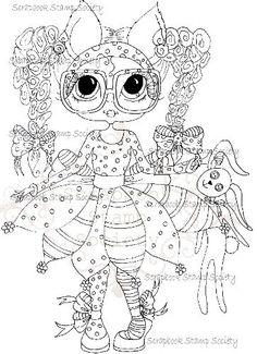 Instant Download Digital Digi Stamps Big Eye Big Head Dolls Digi Tilly Twinkle and Bunnikins By Sherri Baldy