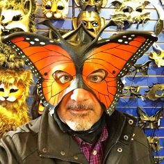 Monarch butterfly mask... #laughter #fun #picoftheday #mardigras #costume #carnival #smile #nola #neworleans #frenchquarter #parade #crown #celebration  #photooftheday  #photooftheweek #picoftheweek #bestoftheday #friends #night #nightlife #costumes #mask #masks #party #partytime #leather #butterfly #thepartyneverstops by robertdiamond