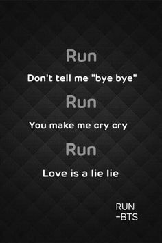 BTS Run lyrics
