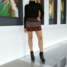 """Vena Cava Fitted mini skirt Vena Cava has done it again designing this fabulous embroidered mini skirt. This fashion forward skirt has an array of colors, black with burnt orange, cream and tan.  New, tags are attached. Available in size 6 Length is approximately 14"""" Vena Cava Skirts Mini"""