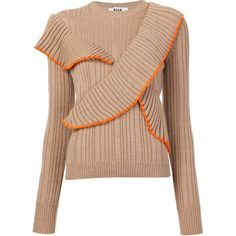MSGM ruffled jumper found on Polyvore featuring tops, sweaters, flutter-sleeve top, beige sweater, msgm, ruffle top and ruffle sweater
