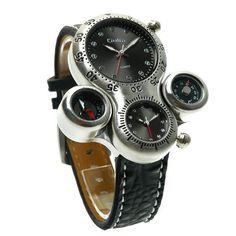 Oulm メンズ 腕時計 コンパス+温度計 付き スポーツ カジュアル メンズ  ウォッチ