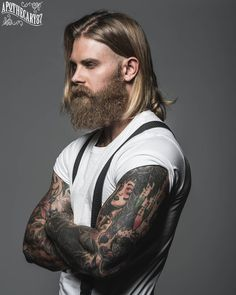 Josh Mario John - full thick beard mustache beards bearded man men mens' style fashion suspenders tattoos tattooed long hair blond bearding #beardsforever