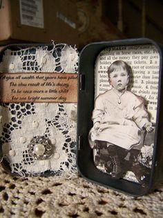 Geänderte Altoid Tin Assemblage Collage verändert Kunst Tin 3D