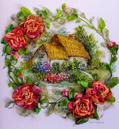 Dreams, cottage garden, silk ribbon embroidery, roses, ribbonart work,embroidered picture di SilkRibbonembroidery su Etsy