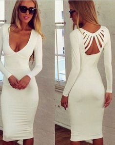 White Plain Cut Out Plunging Neckline Long Sleeve Cotton Dress