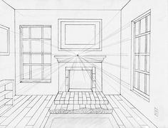 Elements to incorporate in a perspective drawing of a room: fireplace, mantal, bookshelves.  Note the window panes--very well-done.