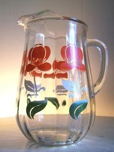 Vintage Glass Juice Pitcher / You had your choice, between canned or frozen OJ.  Freshly squeezed was a real treat.