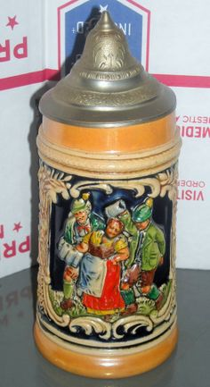 Vintage German Lidded Stein Gerz? Woman Men Dancing  - Beer Stein Mug