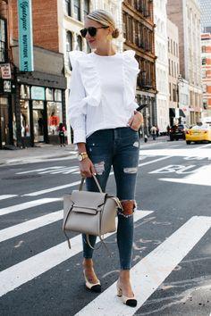 e926b99ebaa0c Zara White Ruffle Shirt Topshop Denim Ripped Skinny Jeans Chanel Slingbacks  Celine Belt Bag Fashion Jackson
