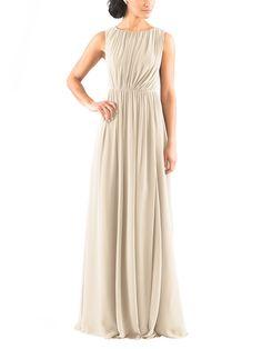 DescriptionJenny YooEloiseFulllength bridesmaid dressHigh neck, shirred bodiceOpen back detailNatural waistlineChiffon