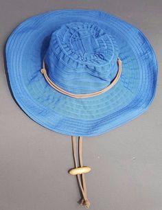 Sun and Sand Summer Ribbon Hat Chin Strap Wired Brim Folding Travel Cap Blue #SunandSand #WideBrim #Outdoor