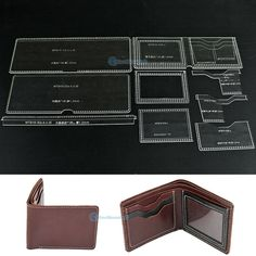 """ACRYLIC TEMPLATE CLEAR Pattern 915-C Leather Bifold Wallet Card Holder Making AA - $18.53. Acrylic Template Clear Pattern 915-C Leather Bifold Wallet Card Holder Making AA Tip Package: One set pattern (NO wallet, NO leather, NO tool including, JUST Acrylic Template) Material: Acrylic / Perspex Sheet Type: Clear Thickness: 2mm Application: leather handcraft The finished product size is about (LxW) 12cmx9cm / 4.7""""x3.5"""", it can hold cash card and coin,etc Supplied with: protective paper masking… Diy Wallet Pattern, Coin Purse Pattern, Leather Wallet Pattern, Leather Bifold Wallet, Purse Patterns, Diy Leather Craft Tools, Diy Crafts Tools, Diy Wallet Bag, Card Wallet"""