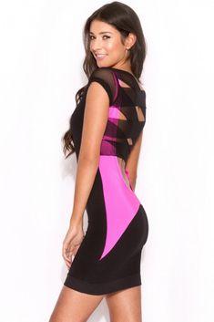 Pink Black Mesh Lattice Strap Back Bodycon Dress
