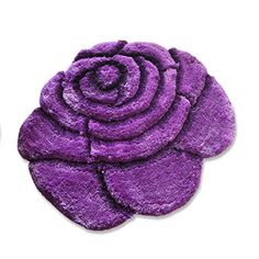 New 3D Rose Flower Shape Soft and Smooth Shaggy Rug 100cmx100cm 785 Purple *** Click on the image for additional details. (This is an Amazon Affiliate link and I receive a commission for the sales)
