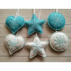 Wool Felt Blue White Christmas decorations, Embroider snowflake... ($66) ❤ liked on Polyvore featuring home, home decor, holiday decorations, christmas tree ornaments, christmas ornaments, star christmas tree ornaments, blue snowflake ornaments and xmas tree ornaments