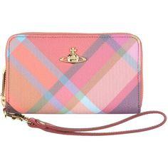 Vivienne Westwood Wallet ($107) ❤ liked on Polyvore featuring bags, wallets, orange, zipper wallet, zip wallet, pink leather wallet, pink bag and orange wallet