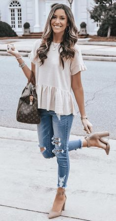 45 Fabulous Spring Outfits To Get Now / 43 # Spring - Fashion Bella Cute Summer Outfits, Trendy Outfits, Fall Outfits, Cute Outfits, Casual Summer Outfits With Jeans, Spring Fashion Outfits, Trendy Dresses, Dress Fashion, Spring Summer Fashion
