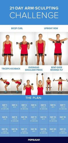 21 Day Arm Sculpting arms fitness exercise home exercise diy exercise routine arm workout exercise routine| Posted By: NewHowToLoseBellyFat.com
