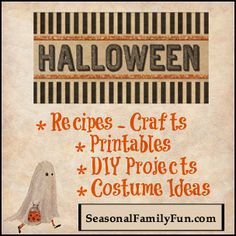 Great list of Halloween recipes, crafts, printables, DIY projects and costume ideas! ** Bloggers - share up to three of your family friendly Halloween posts.