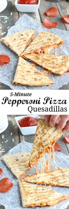 This easy Pepperoni Pizza Quesadilla recipe takes just minutes! With fiber-rich whole grains and lots of protein, it's perfect as a quick meal or a hearty power snack! {ad} | http://www.TwoHealthyKitchens.com