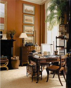 What color is this? Carmel. Looks very rich an blends beautifully with wood furniture. Gil Schafer / www.gpschafer.com