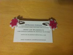 Fun pink and white floral hair clip by SprucedCorner on Etsy