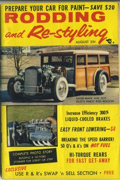 Rodding and Re-Styling Magazine Vintage August 1957 woody wagon