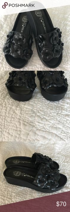 Jeffrey Campbell platform sandals! Jeffrey Campbell Ibiza Last platform sandal with flower detail.  Worn only a few times. See photos!  Super cute sandals!  Extremely comfortable with padded footbed. Jeffrey Campbell Shoes Sandals