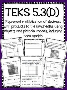 Use these task cards in your instruction or as you prepare for STAAR. Included are 16 task cards which specifically cover TEKS Represent multiplication of decimals with products to the hundredths using objects and pictorial models, including area models. Teaching Materials, Teaching Tools, Teaching Math, Decimal Multiplication, Math Fractions, Classroom Data Wall, Multiplying Decimals, Fifth Grade Math, Math Help